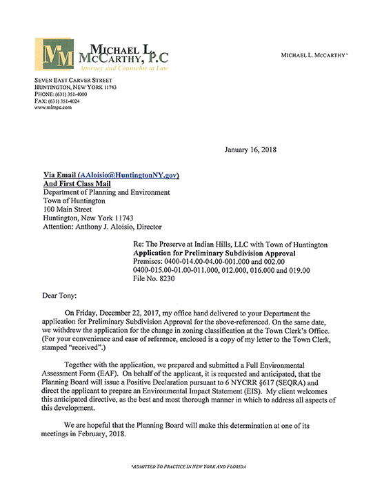 Letter to the Dept. of Planning and Environment