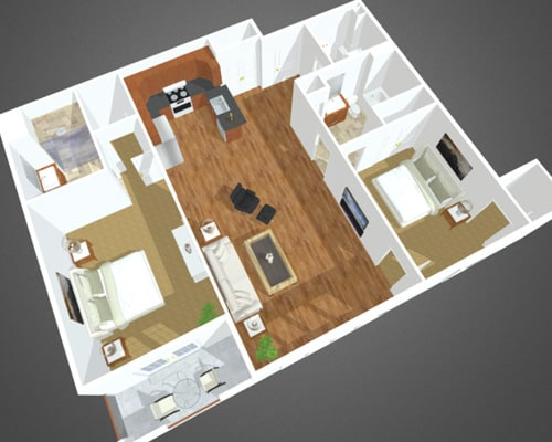 The Narrows floor plan at Overbay Luxury Apartments